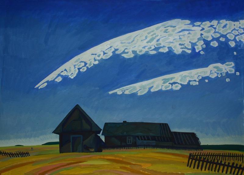 Картина «Летели облака» художника Дарьи Мазуриной